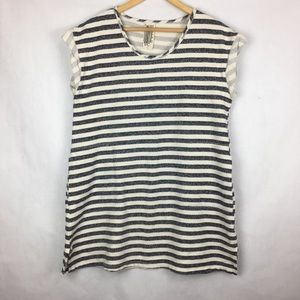 Free People Striped Pocket Sweatshirt Tunic Size S